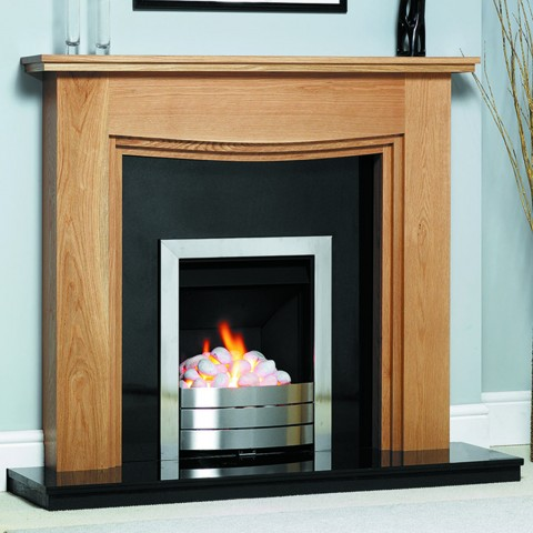 GB Mantels Bayswater Oak Fireplace Suite
