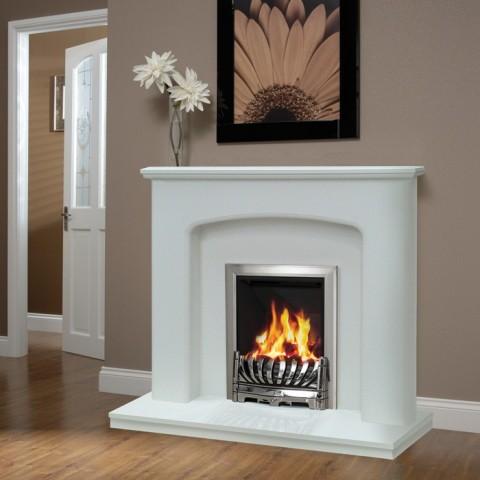 "Be Modern Diablo 48"" Marble Fireplace Suite"