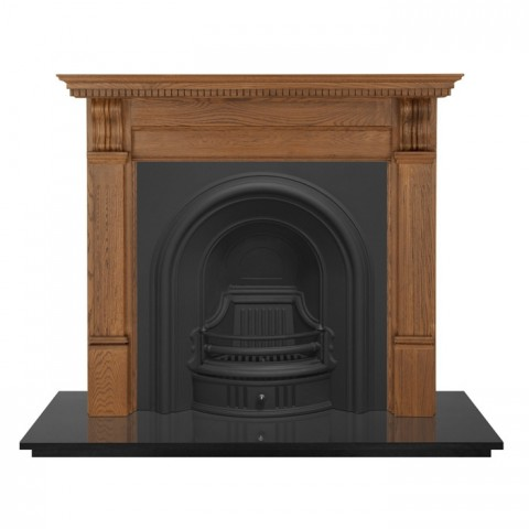 Carron 55'' Pine Corbel Fireplace with Coleby Cast Iron Arch