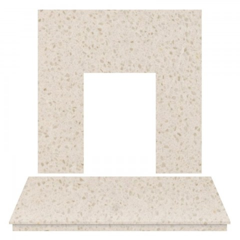 Fireplaces 4 Life Beige Stone Marble Back Panel & Hearth