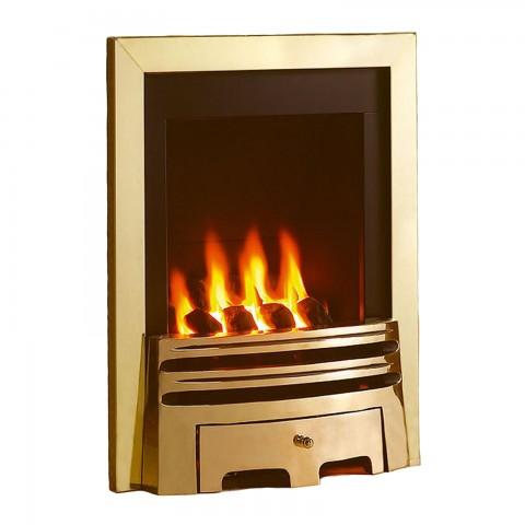 Flavel Windsor Classic Slimline Inset Brass Gas Fire