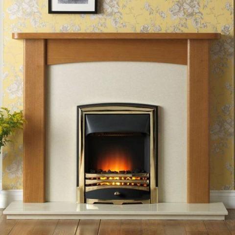 """Gallery Abbey 54"""" Light Oak Fireplace Suite"""