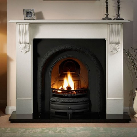 Gallery Kingston 56'' Stone Fireplace With Lytton Cast Iron Arch