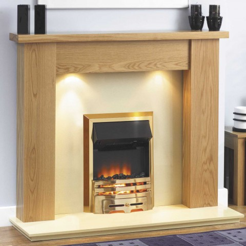 GB Mantels Bromley Clear Oak Fireplace Suite