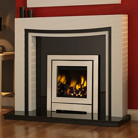 GB Mantels Chelmsford Tudor Oak/Black Oak Fireplace Suite