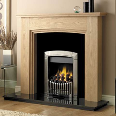 GB Mantels Upminster Oiled Oak Fireplace Suite