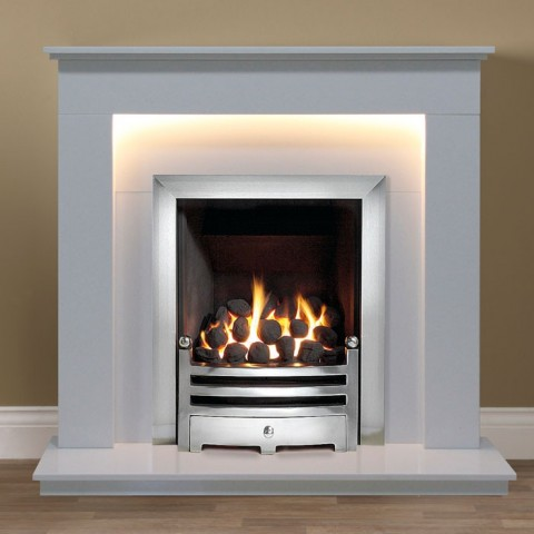 """Gallery Riverslea 48"""" Arctic White Marble Fireplace"""