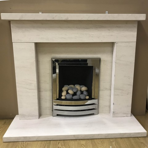 """F4L Wentworth 52"""" Limestone Fireplace Suite"""