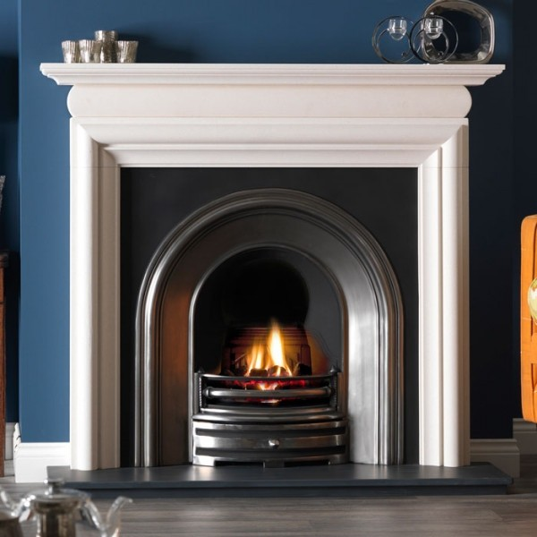 Gallery Asquith Limestone Fireplace With Crown Cast Iron Arch
