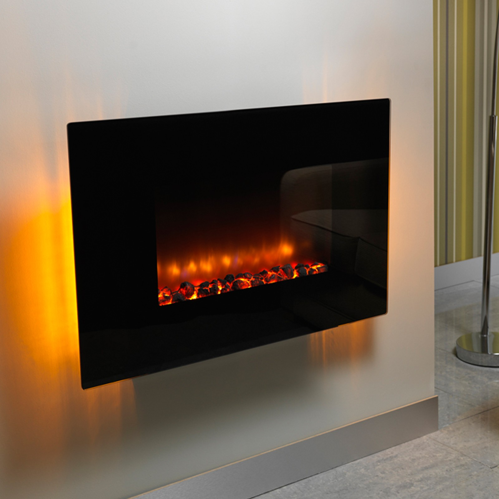 Contemporary Design Be Modern Orlando Flat Black Wall Mounted Electric Fire