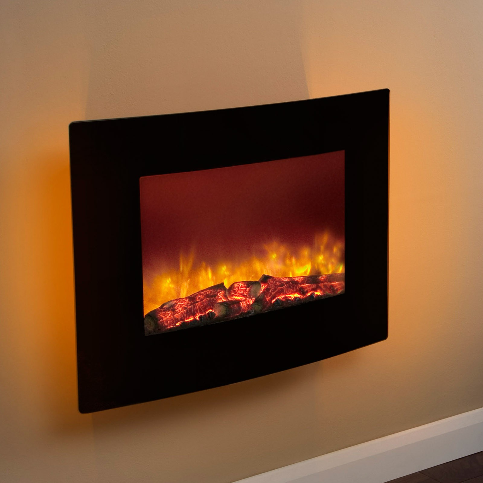 Wall Mounted Electric Lights : Compact Design Be Modern Quattro Wall Mounted Black Electric Fire Affordable