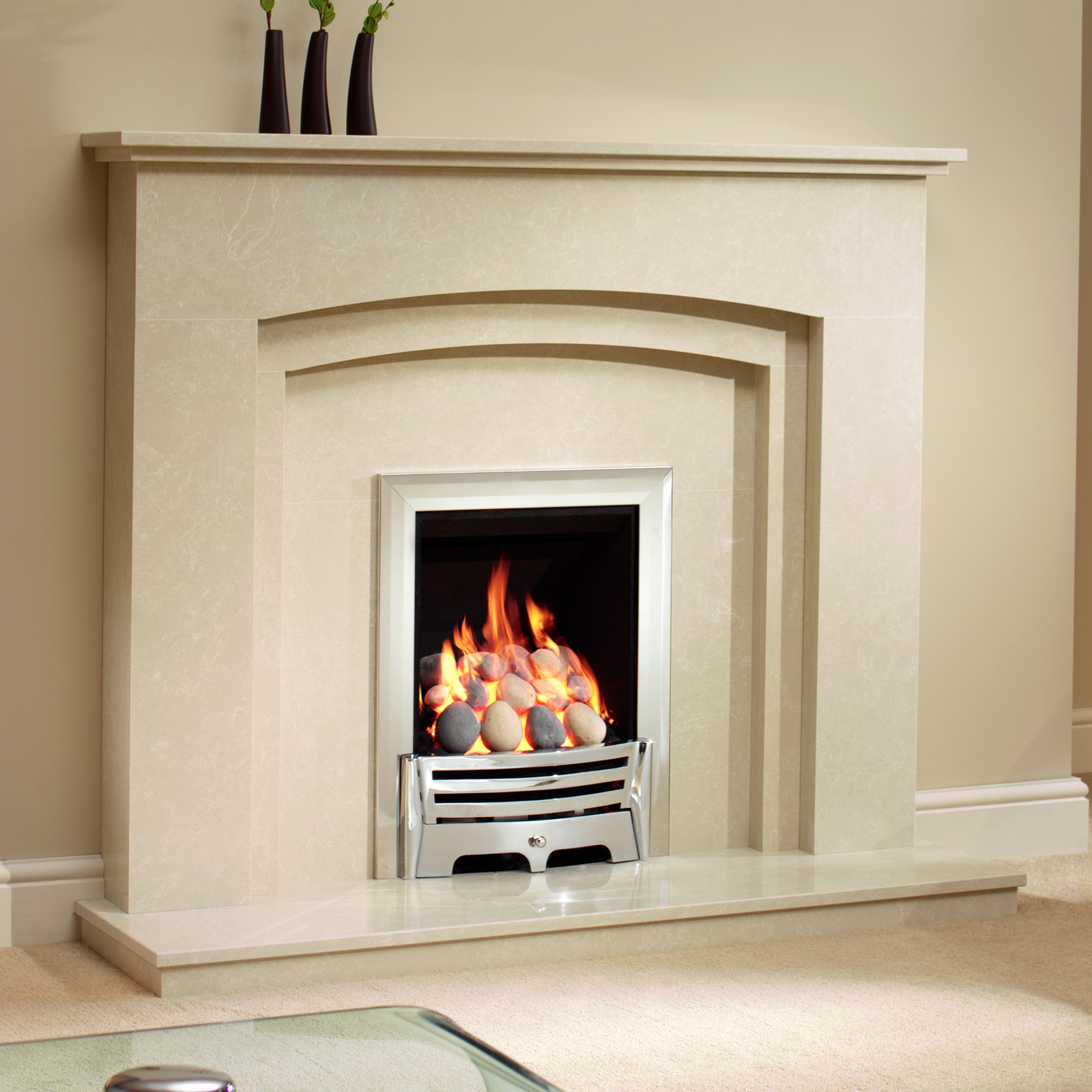 Beautiful Modern Fire Be Modern Rossano Manila Micro Marble Fireplace Suite