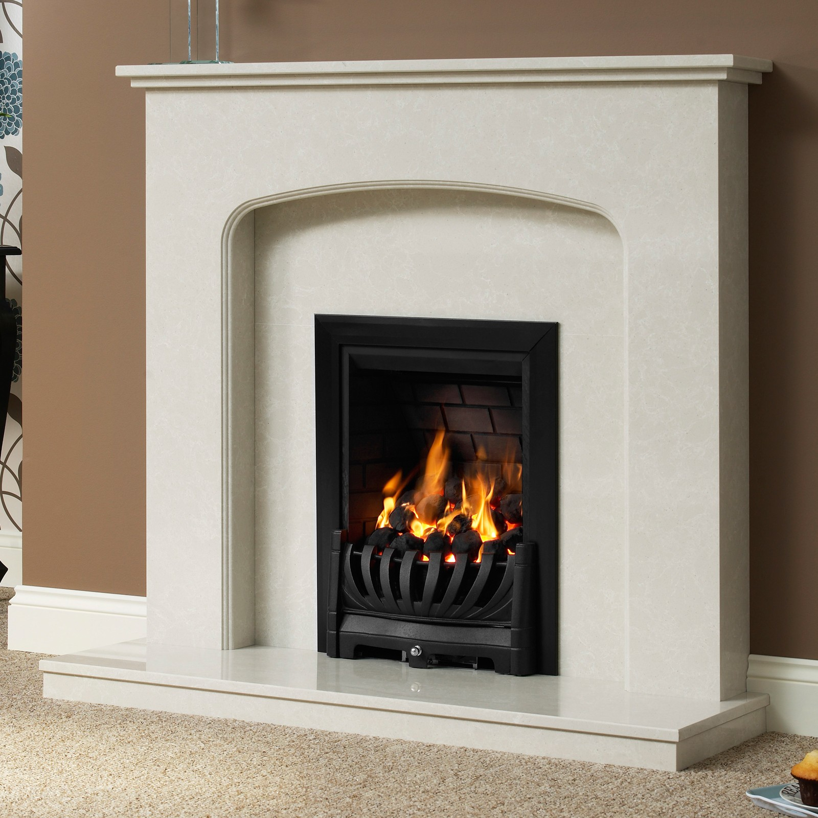Delicate Be Modern Tasmin Micro Marble Fireplace Suite