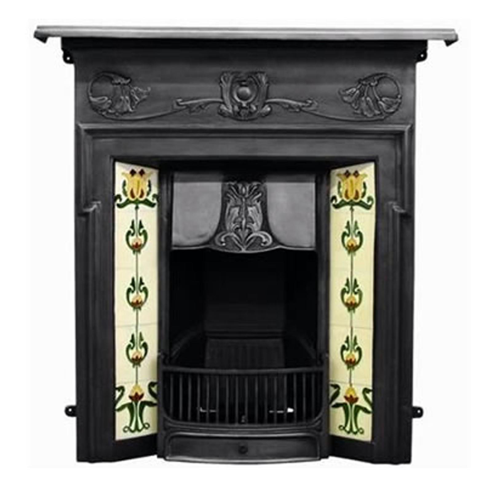 art nouveau carron morris combination cast iron fireplace