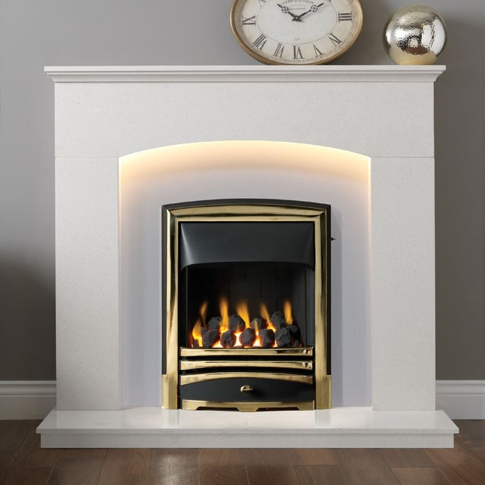 Enjoyable Gallery Cartmel 48 Arctic Marble Fireplace Suite Interior Design Ideas Tzicisoteloinfo