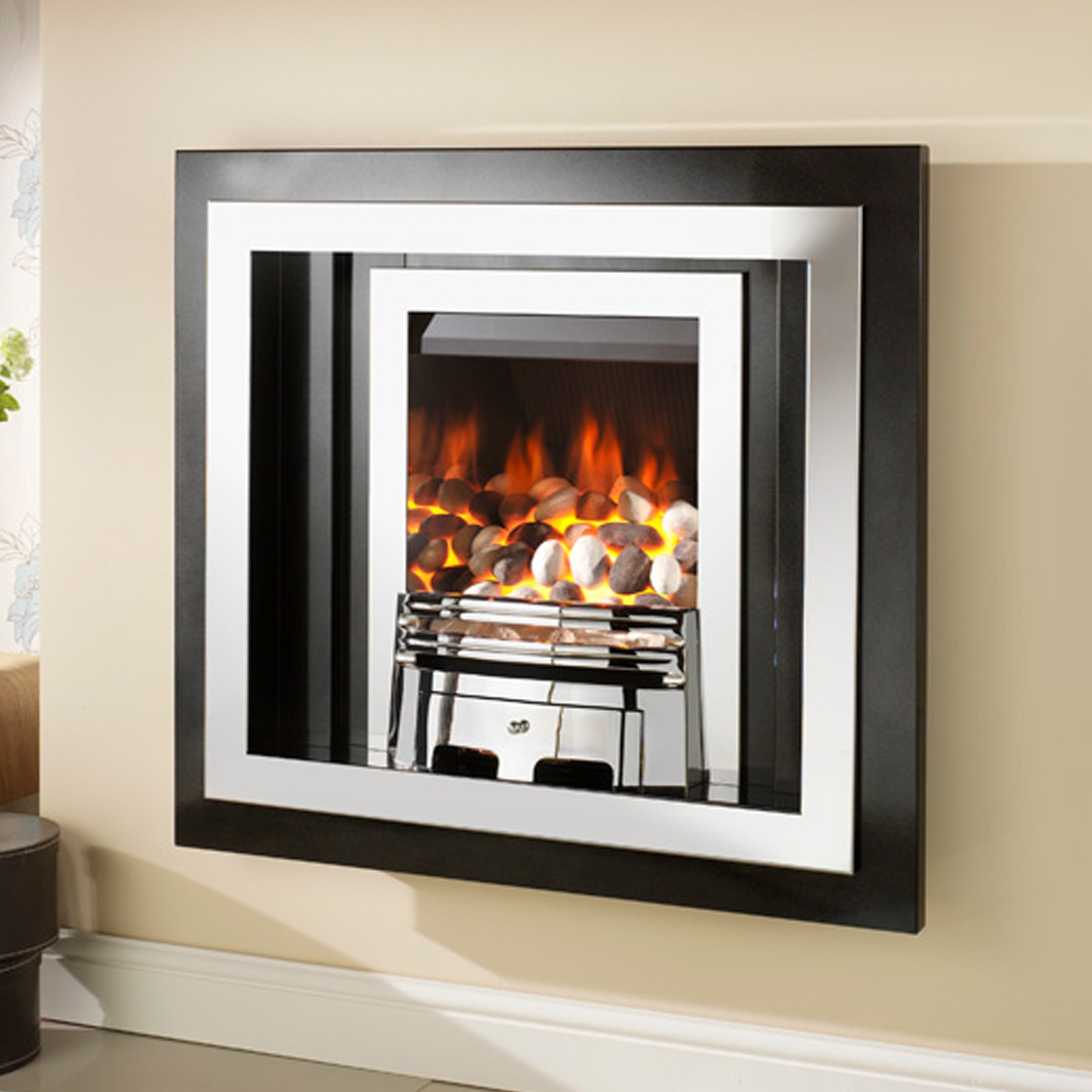 view electric and black pebble fireplace denali heater wall mounted crystal log p inch quick ventless