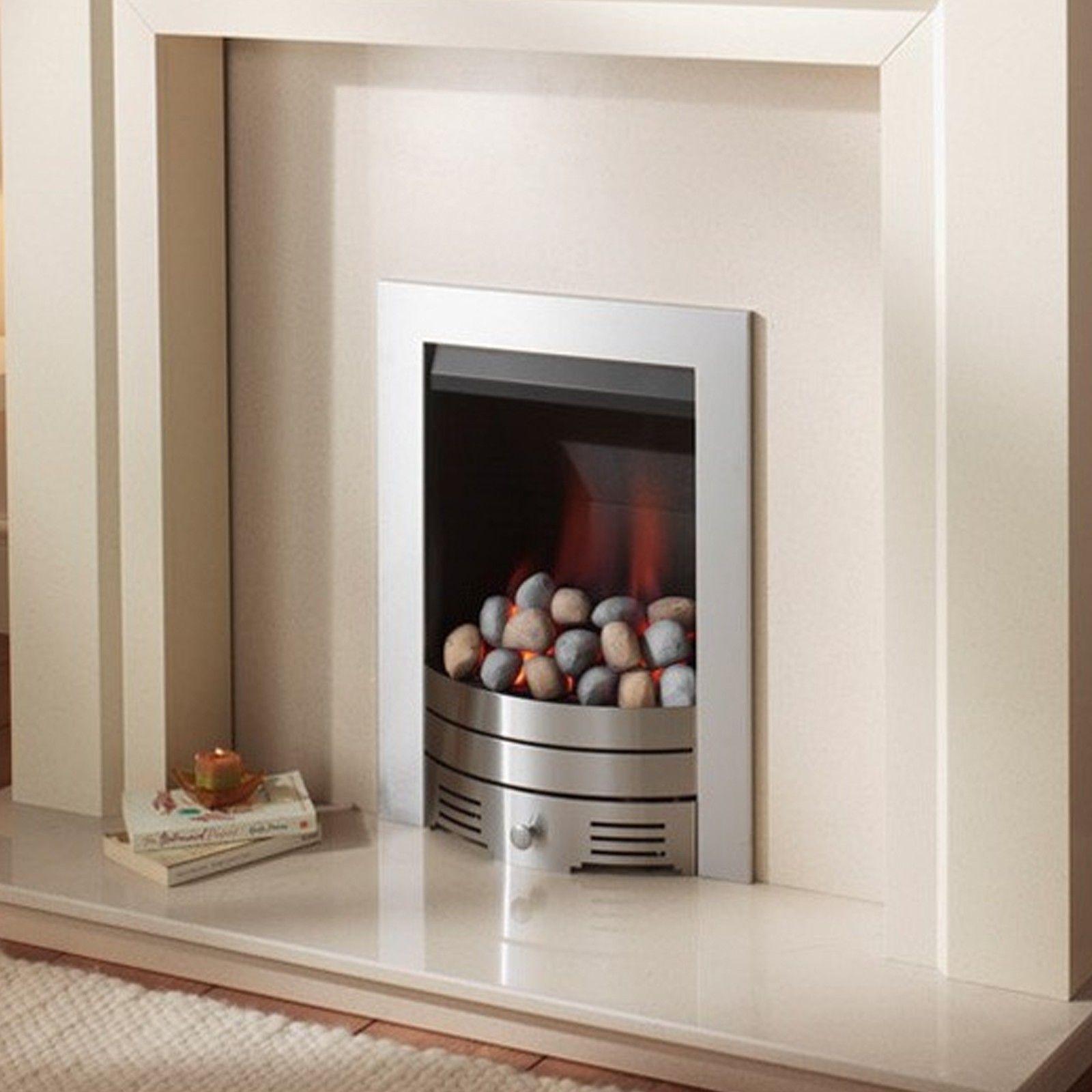 Chrome fire crystal fires slimline radiant contemporary for Modern gas fireplace price
