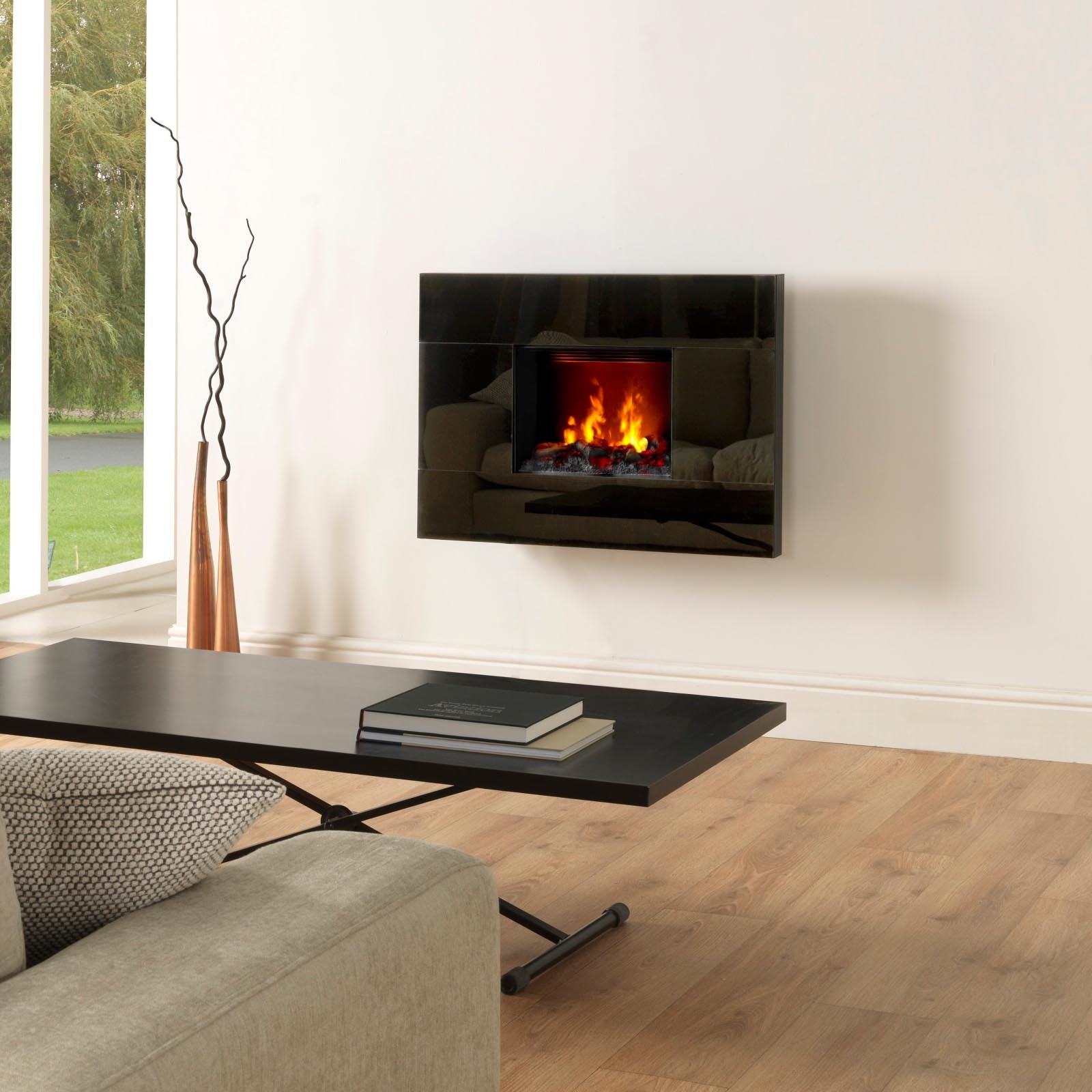 Elegant Tahoe Open Fronted Black Opti Myst Electric Fire