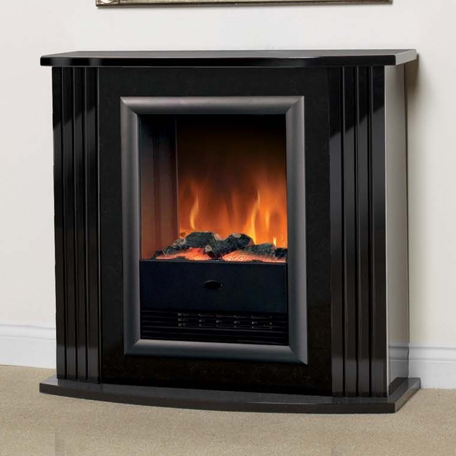fireplace mounted quick p inch black flame elite view electric ashford wall