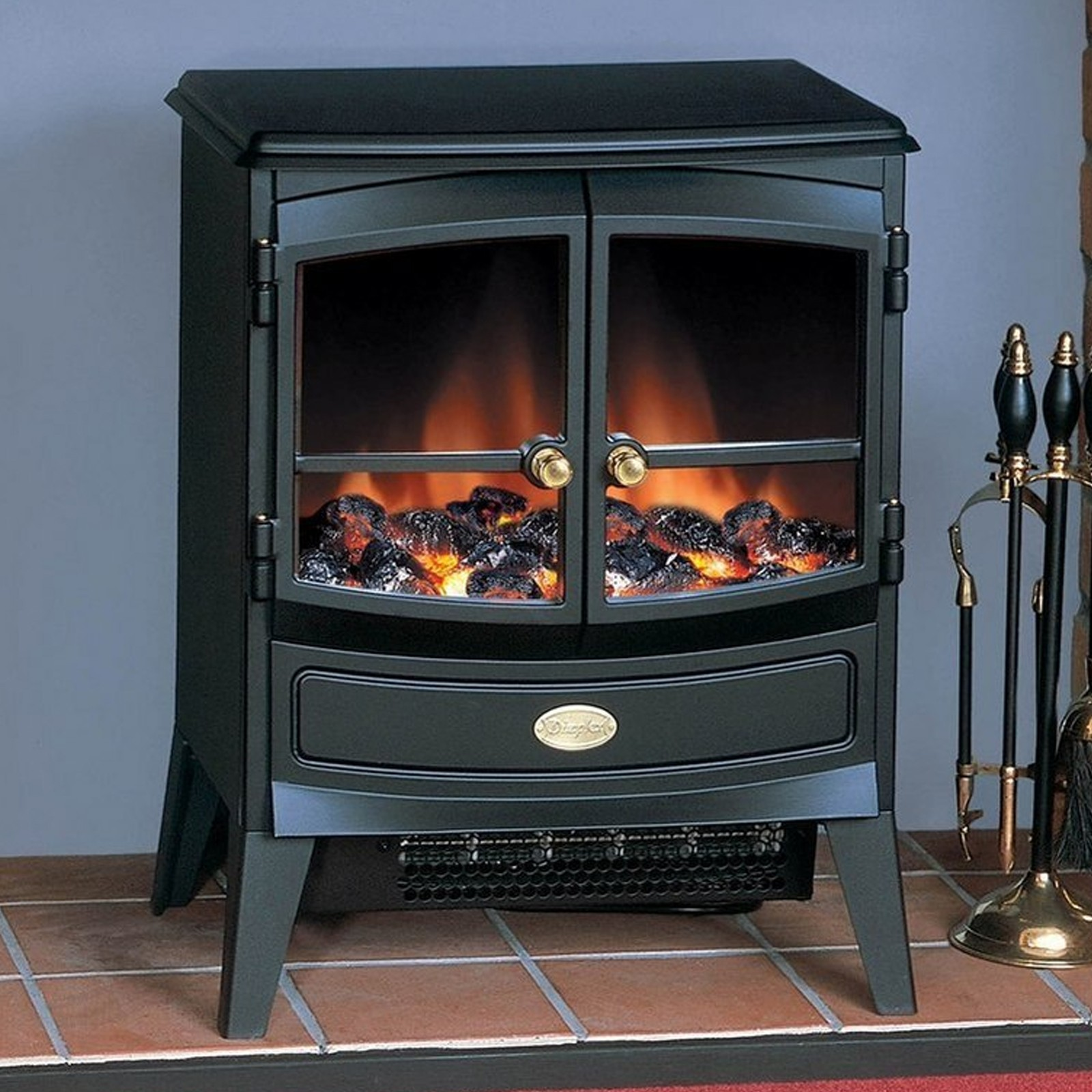 Black Electric Stove ~ Sleek dimplex springborne black optiflame electric stove