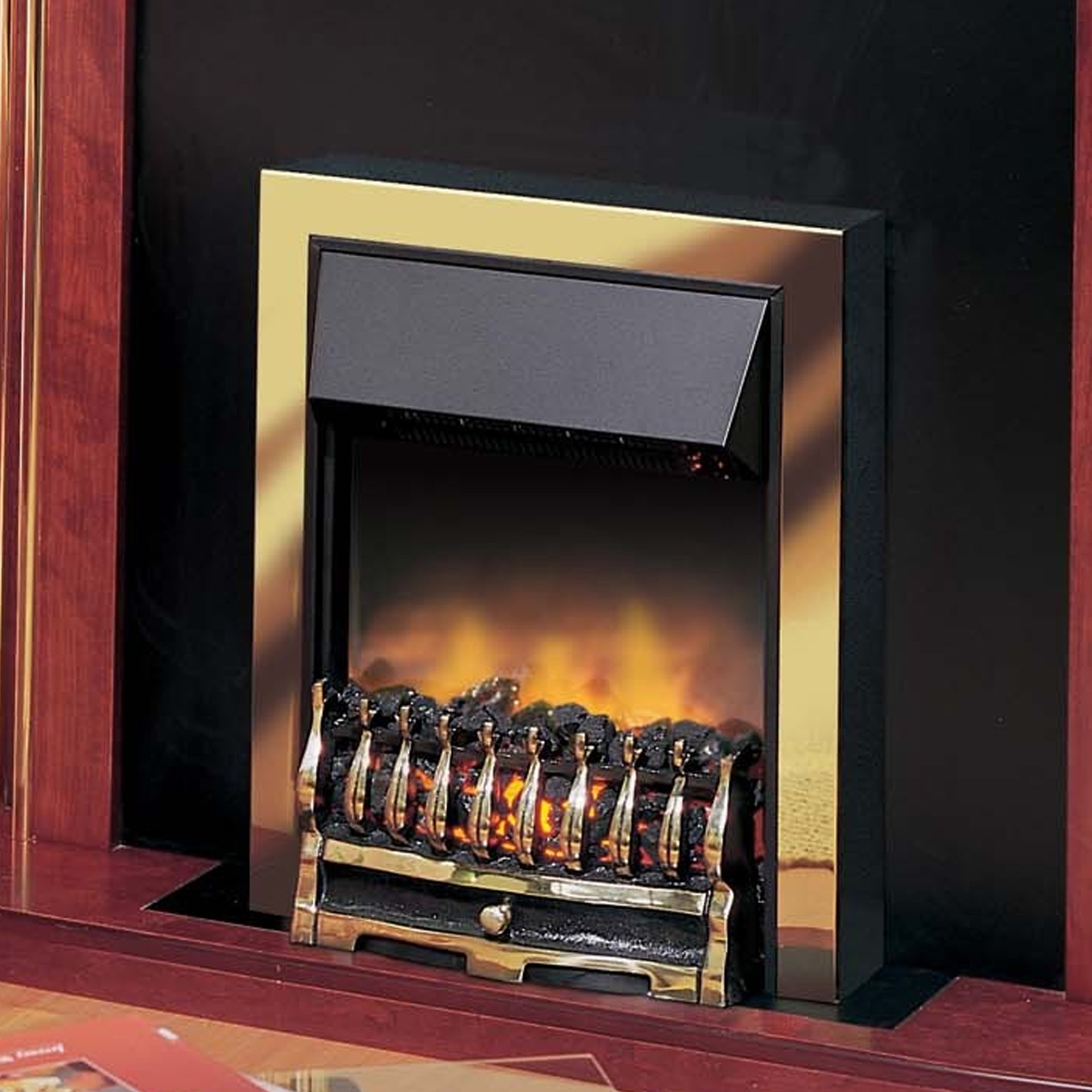 Affordable Dimplex Wynford Brass Optiflame Electric Fire