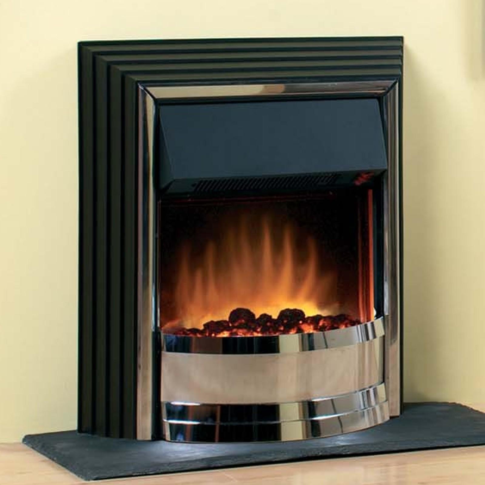 Elegant Freestanding Zamora Chrome Electric Fire Tasteful