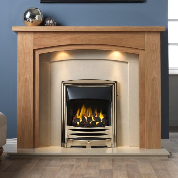 Light Oak Veneer Fireplace Suite, Oak Electric Fireplaces