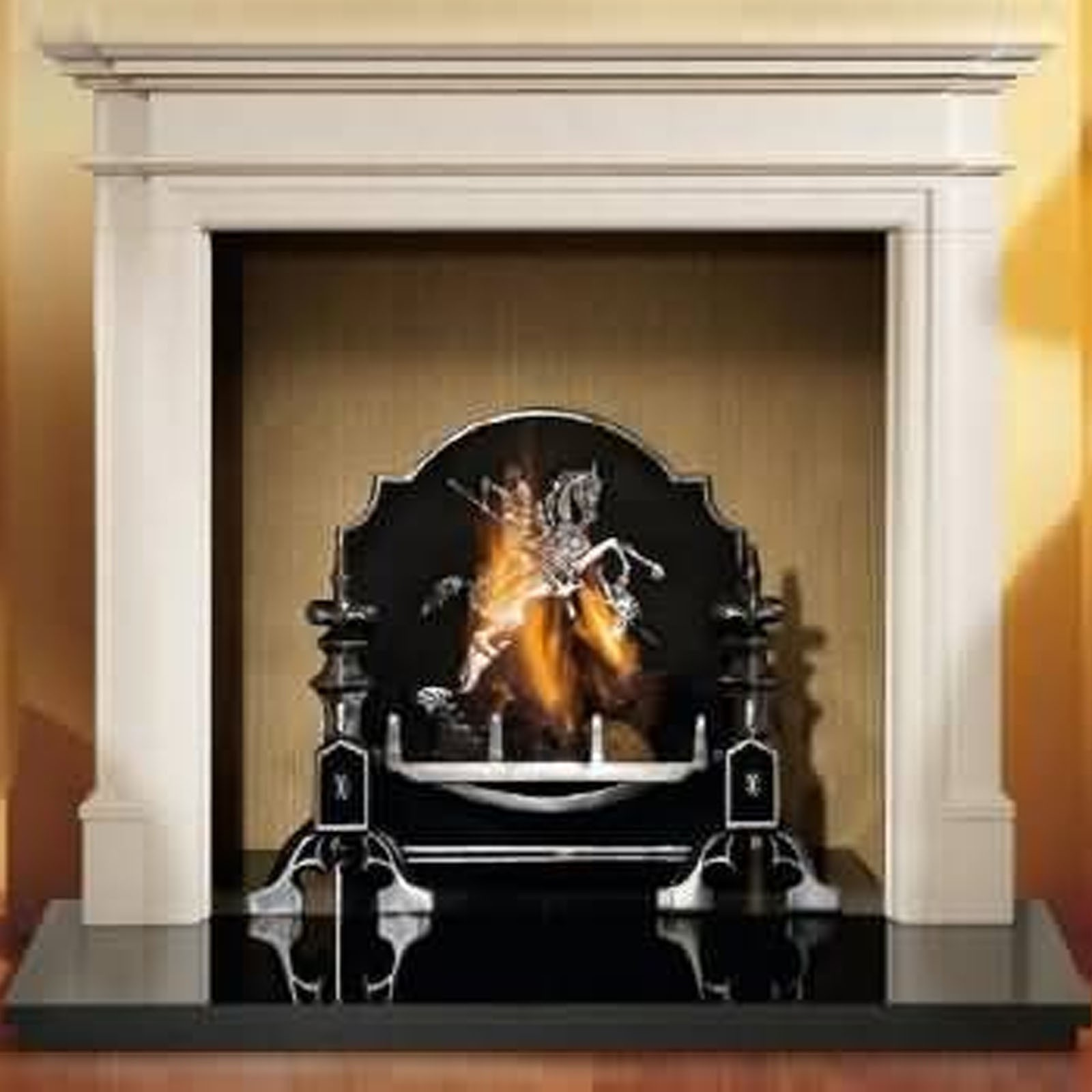 Gallery Bartello Limestone Fireplace Includes Swans Nest