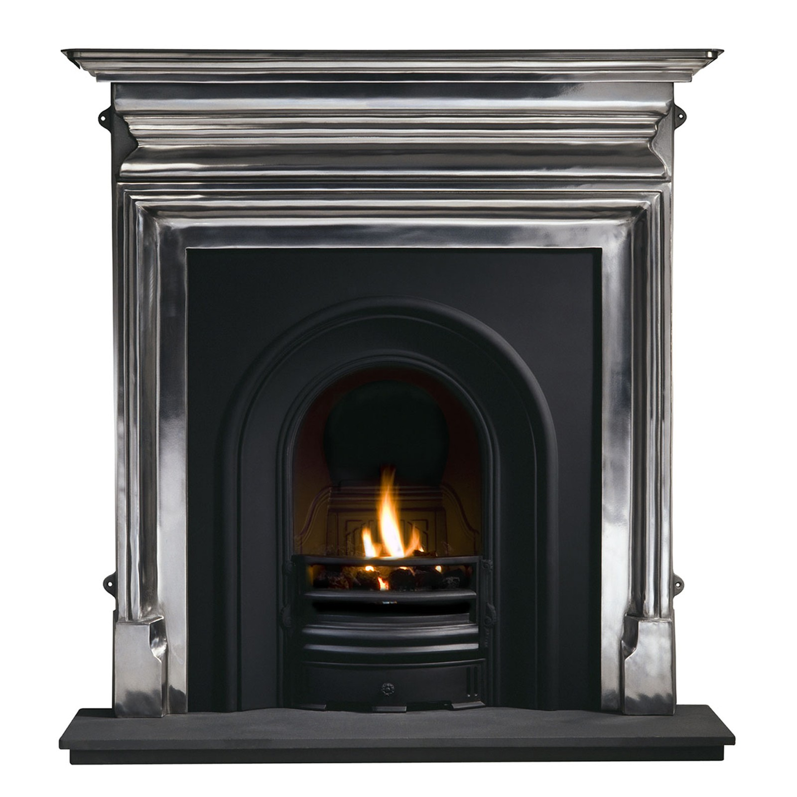 previousnext iron half arched harlington arch polished artisan fireplaces fireplace cast fires