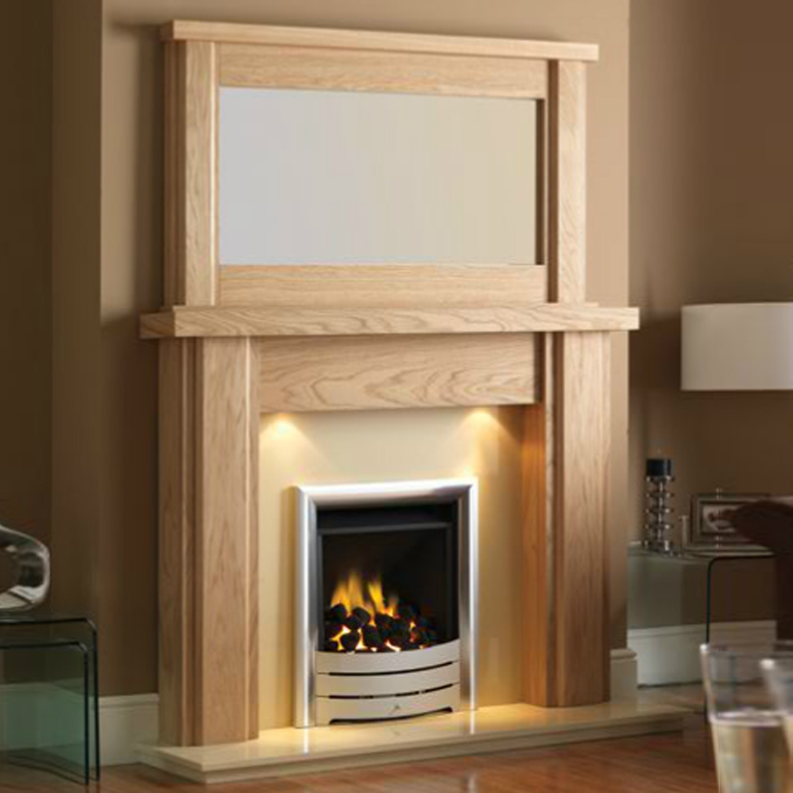 Oak veneer mantel