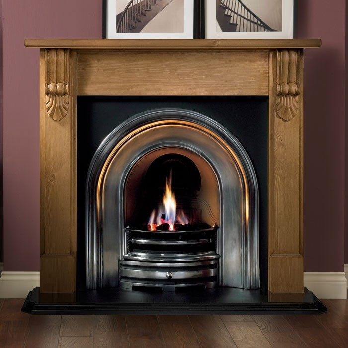 Gallery Grand Corbel 54 Pine Wood Fireplace With Crown Cast Iron Arch