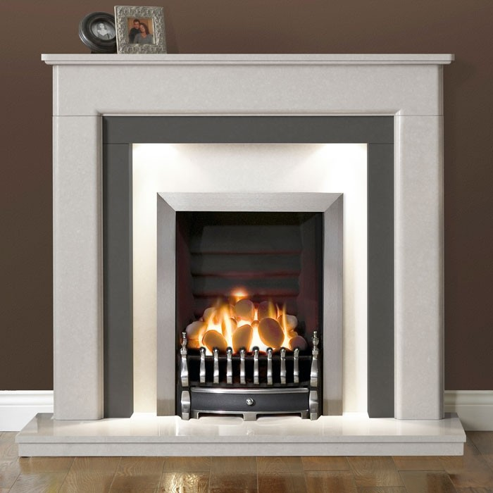Gallery Riverslea 48 Quot Arctic White Marble Fireplace Gas