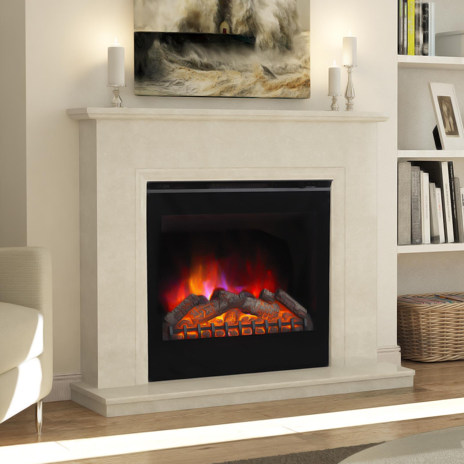High Quality Elgin Hall Roesia Manila Micro Marble Fireplace Suite