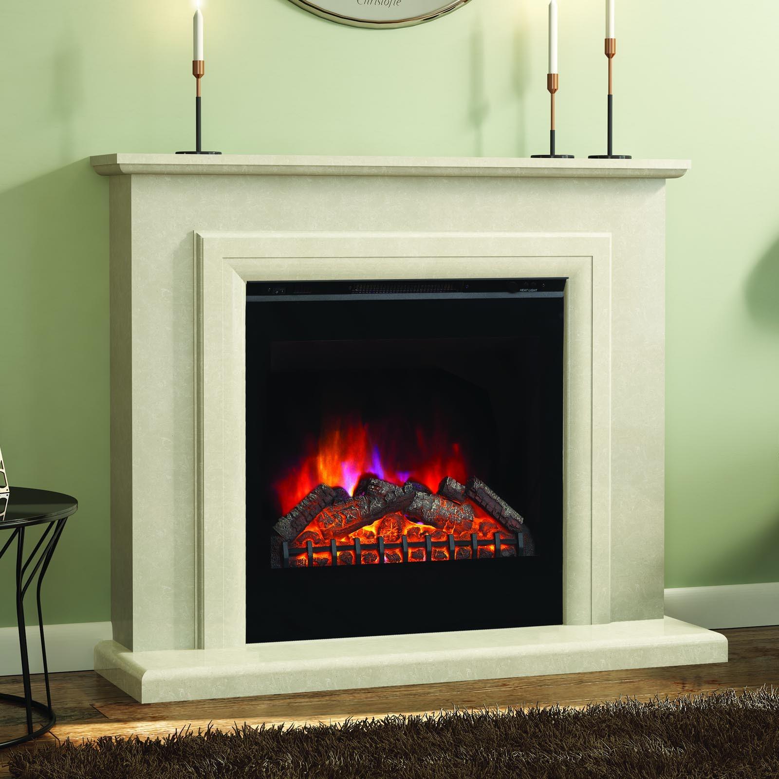 Elgin Hall Susannah Manila Micro Marble Fireplace Suite Free Shipping