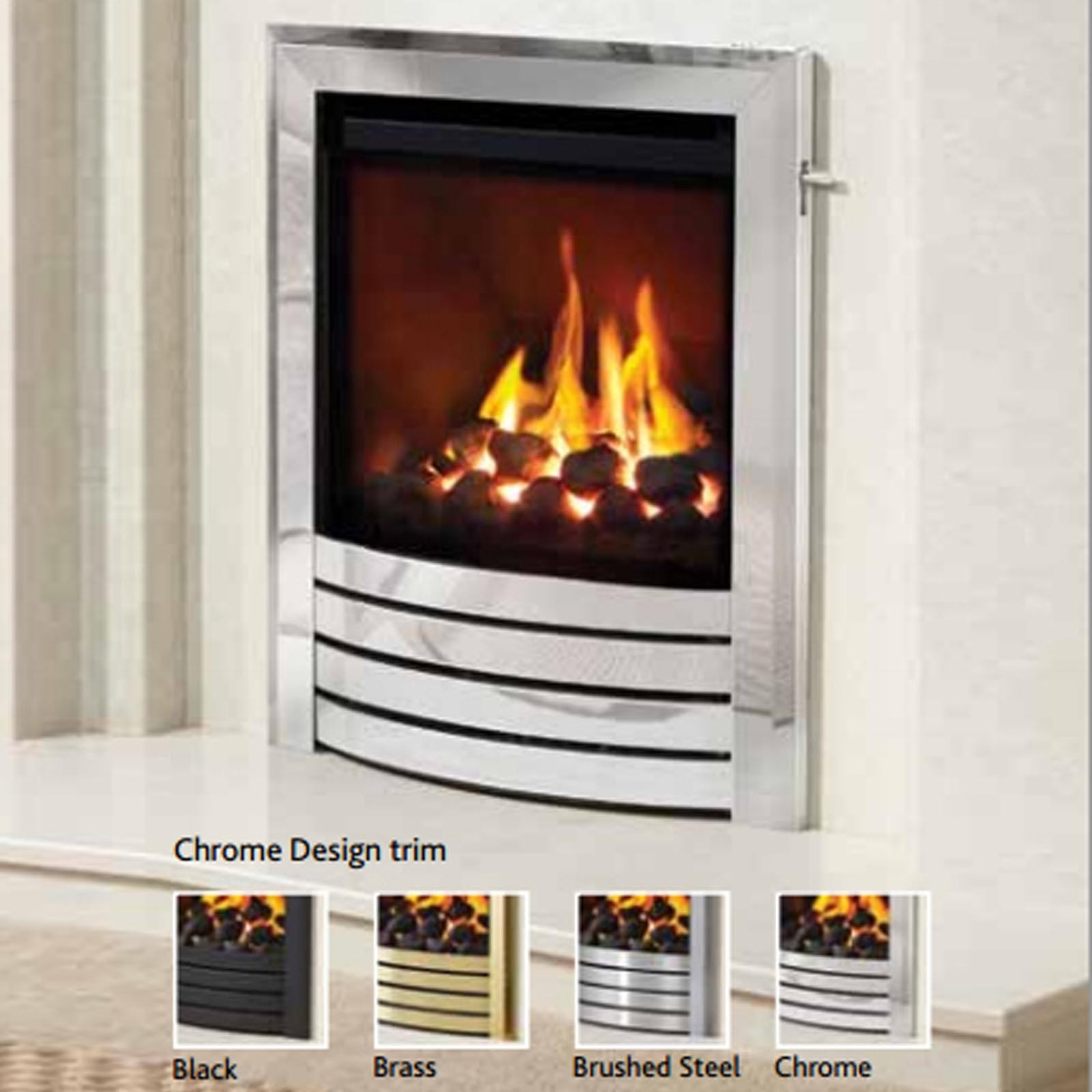 be modern titanium inset gas fire free mainland uk delivery