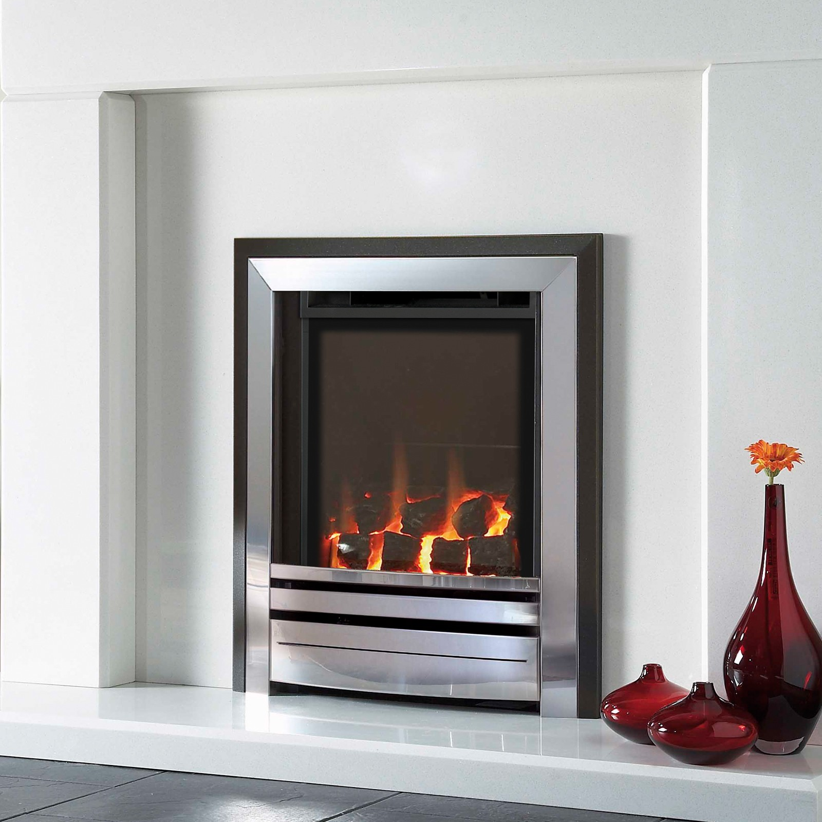Efficiency of gas fireplace - Verine Frontier He Black Silver Coal