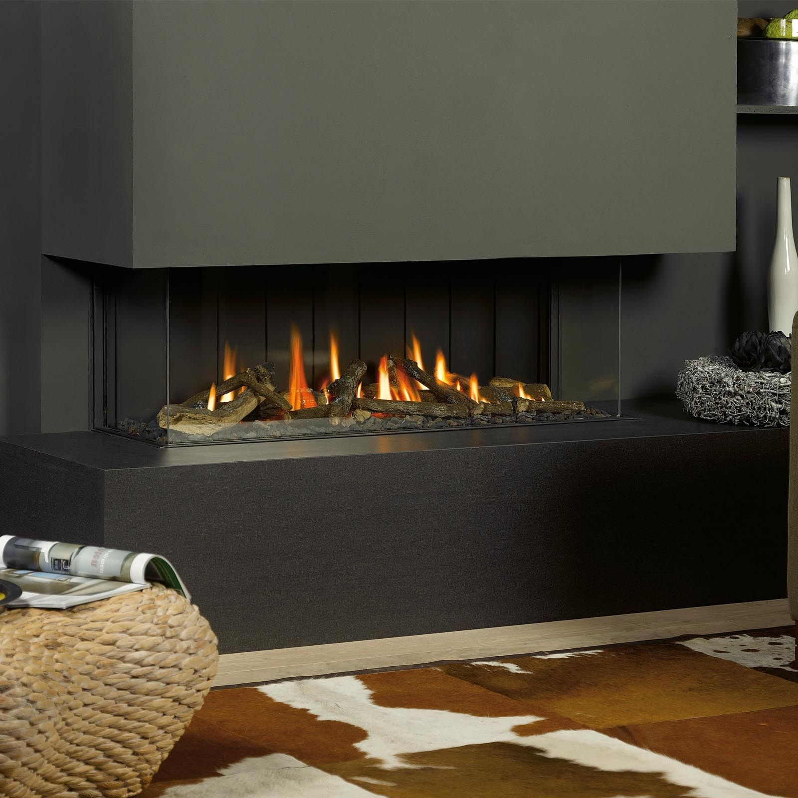 free shipping vision trimline tl120p panoramic trimless gas fire