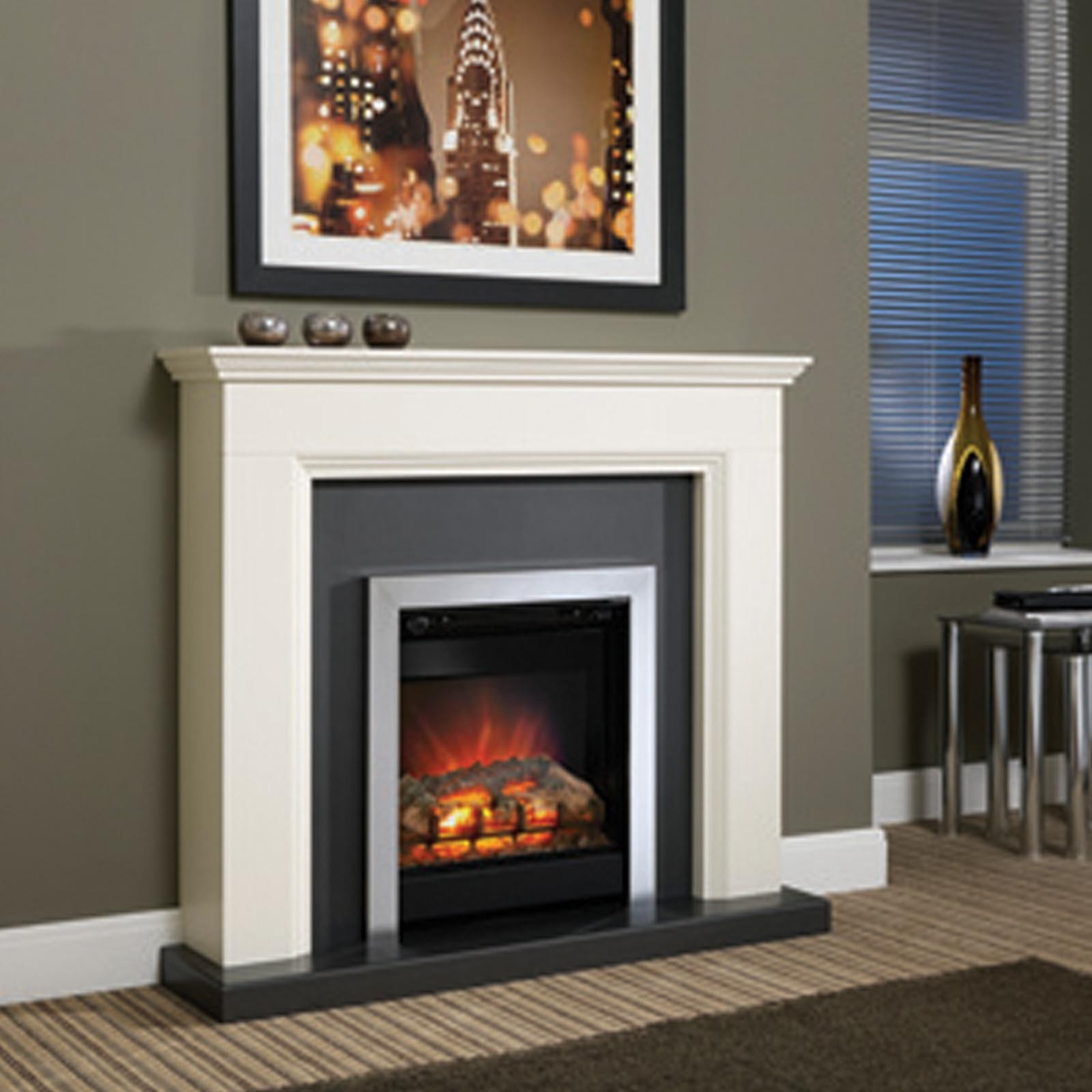Low price be modern westcroft 46 fireplace suite for Modern gas fireplace price
