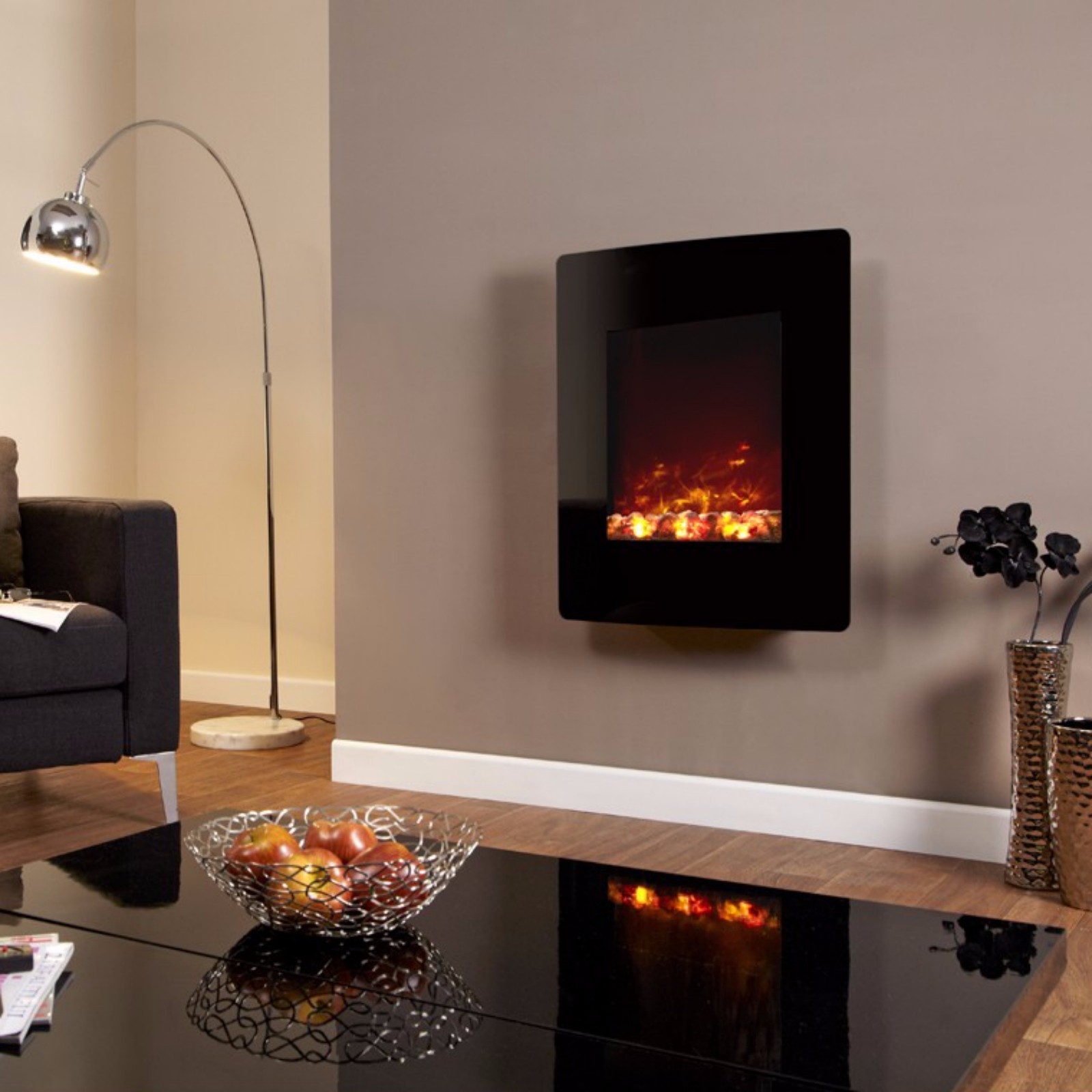 Be Modern Quattro Wall Mounted Black Electric Fire