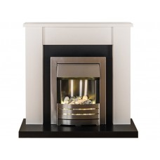 Fireplaces 4 Life Solus White 39'' Helios Electric Fireplace Suite