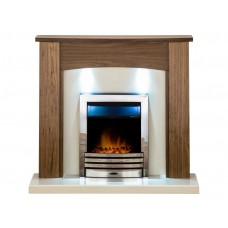 Fireplaces 4 Life Stanford 48'' Oak Veneer Eclipse Electric Fireplace Suite