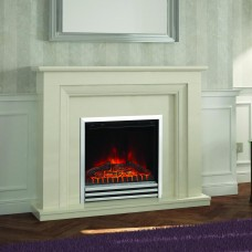 "Elgin & Hall Amorina 50"" Almond Stone Fireplace Suite"