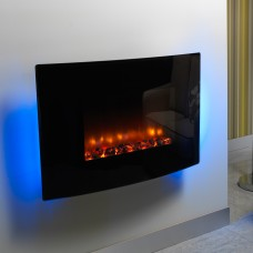 Be Modern Orlando Curved Black Wall Mounted Electric Fire