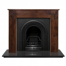 Carron New England Sheesham Fireplace With Ce Lux Cast Iron Arch Matt Black