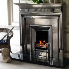 """Carron Belgrave 54"""" Cast Iron FIreplace With Royal Cast Iron Insert Full Polished Room"""