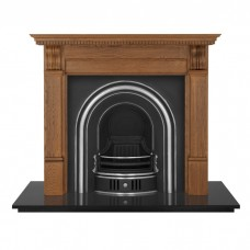 Carron 55'' Oak Corbel Fireplace with Coleby Cast Iron Arch