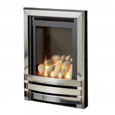 Flavel Linear High Efficiency Polished Silver Pebble Gas Fire