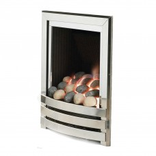 Flavel Linear Polished Silver Gas Fire