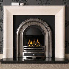 Gallery Delection Limestone Fireplace with Jubilee Cast Iron Arch