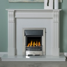 "Dublin Corbel 48"" Lunar White Marble Fireplace Suite"